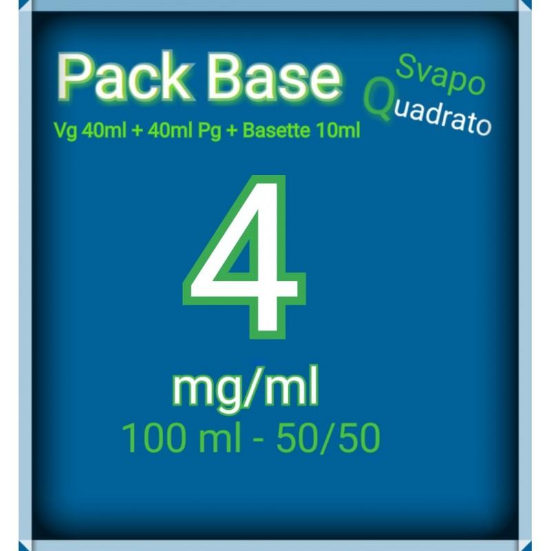 PACK BASE NEUTRA 50VG/50PG NICOTINA 4MG/ML SVAPO QUADRATO 2rshop.it svapo