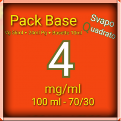 PACK BASE NEUTRA 70VG/30PG NICOTINA 4MG/ML SVAPO QUADRATO 2rshop.it svapo