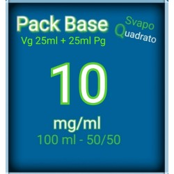 PACK BASE NEUTRA 50VG/50PG NICOTINA 10MG/ML SVAPO QUADRATO 2rshop.it svapo